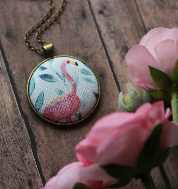 Flamingo Necklace, Tropical Jewelry