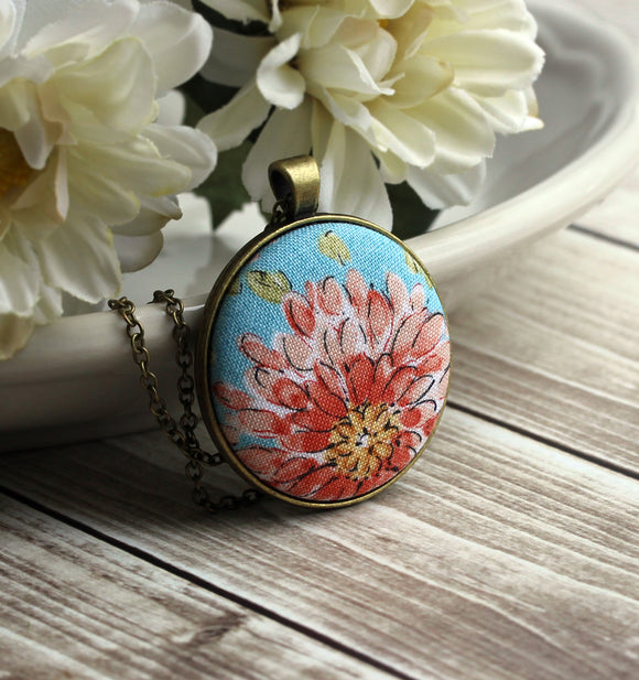 Large Boho Floral Fabric Pendant, Coral And Aqua