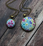 Floral Boho Jewelry, Small Or Large Fabric Pendant