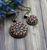 Black, Pink, And Orange Vintage Floral Fabric Jewelry