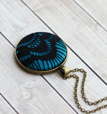 Black and Teal Necklace, Large Lace Pendant