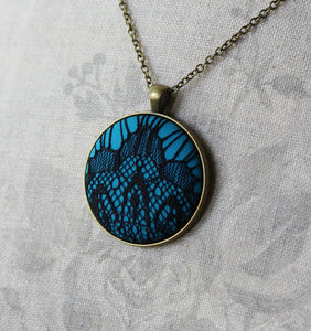 Art Deco Pendant In Black And Teal Blue
