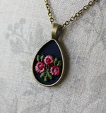 Rose Necklace, Teardrop Pendant, Navy Blue And Pink
