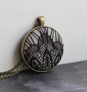 Large Beige And Black Pendant, Art Deco Lace Jewelry