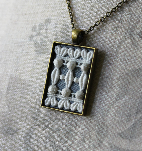 Victorian Necklace With Vintage Lace, Rectangle Pendant