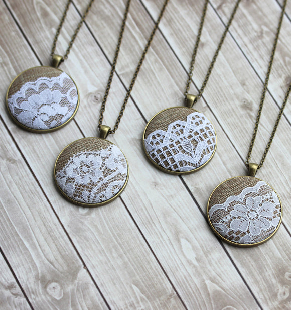 Burlap and Lace Pendants, Rustic Wedding Gift Set