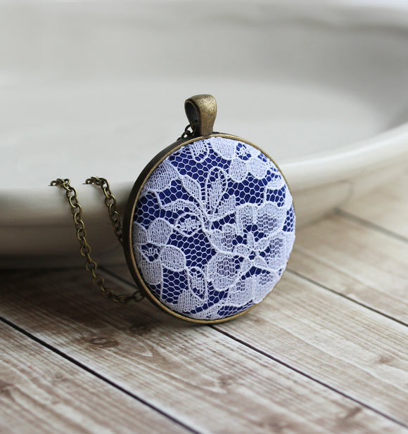 Cobalt Blue Necklace With Art Nouveau White Lace