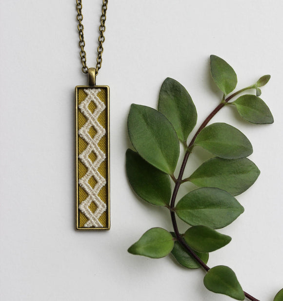 Long Necklace, Chartreuse Fabric And Geometric Diamond Lace