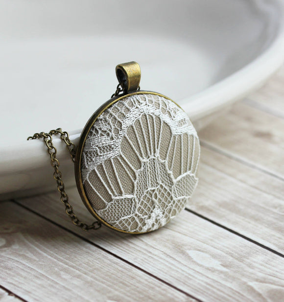 Modern Large Pendant With Art Deco Lace, Beige And White