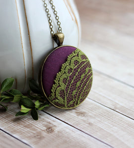 Bohemian Jewelry, Eclectic Colorful Green Purple Necklace