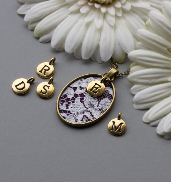Unique Initial Necklace, Personalized Jewelry, Purple Fabric, Lace
