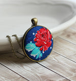 Red Rose Pendant Necklace, Cute Floral Fabric Jewelry