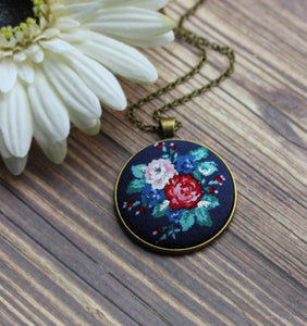 Navy Blue, Teal, And Red Floral Fabric Pendant, Hippie Jewelry