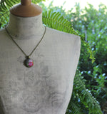 Pastel Fabric Necklace, Coral, Pink, Gray