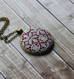 Geometric Art Deco Necklace In Burgundy Red And White