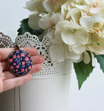 Coral And Navy Necklace, Small Or Large Fabric Pendant