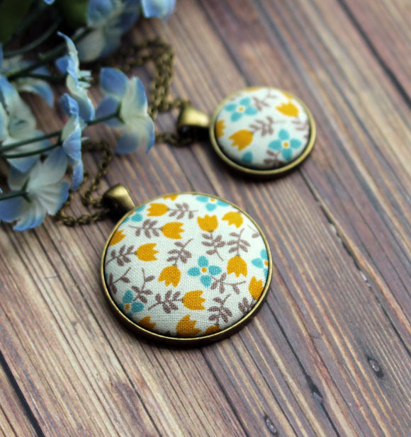 Yellow Tulip Necklace, Small Or Large, Floral Fabric Jewelry