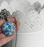 Blue Floral Fabric Pendant, Retro Jewelry