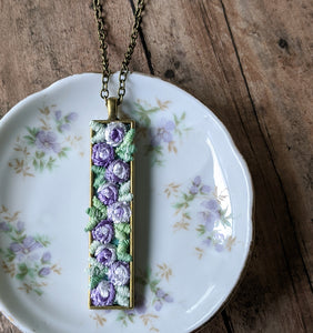 Vintage Flowers Necklace, Lavender Purple