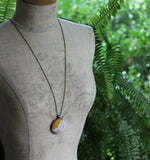 Mustard Yellow Necklace, Boho Jewelry, Large Pendant