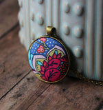 Multi Color Fabric Pendant, Pink And Blue