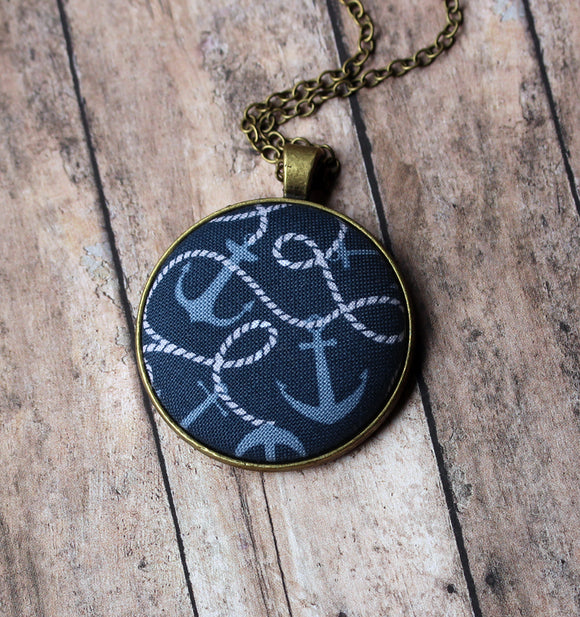 Large Anchor Pendant, Nautical Jewelry, Navy Blue, White