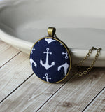 Small Or Large Anchor Necklace, Nautical Fabric Jewelry (Navy Blue, White)