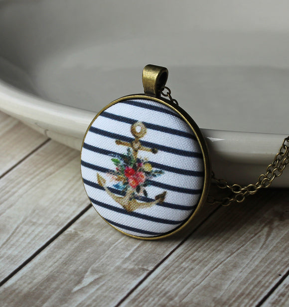 Anchor Necklace, Navy Blue And White Stripes, Floral Fabric