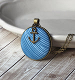 Nautical Blue Waves Necklace With Anchor Charm