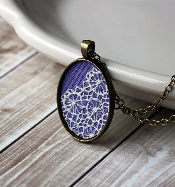 Unique Necklace For Women, Purple Lace Pendant