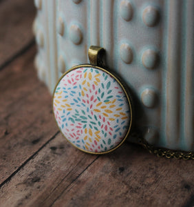 Pastel Necklace With Floral Petals, Fabric Jewelry