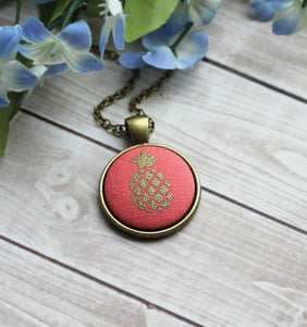 Cute Pineapple Necklace, Coral, Gold, Small Fruit Jewelry
