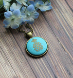 Small Pineapple Pendant, Tropical Fruit Necklace, Aqua, Gold