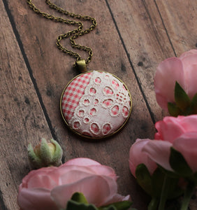 Vintage Pink Plaid Fabric Necklace With Lace, Rustic Jewelry