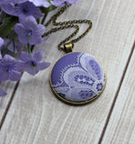 Lavender Purple Boho Necklace, Vintage Lace Jewelry
