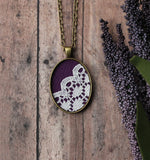 Aubergine Purple Boho Necklace, Small Oval Pendant With Lace