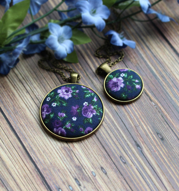 Navy Blue And Purple Necklaces, Floral Fabric Pendants (Small Or Large)