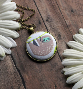 Sloth Gift, Cute Fabric Necklace