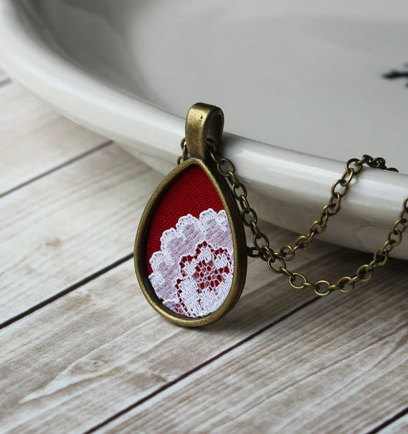 Red Teardrop Necklace, Unique Jewelry For Women