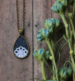 Denim And Lace Necklace, Boho Teardrop Pendant