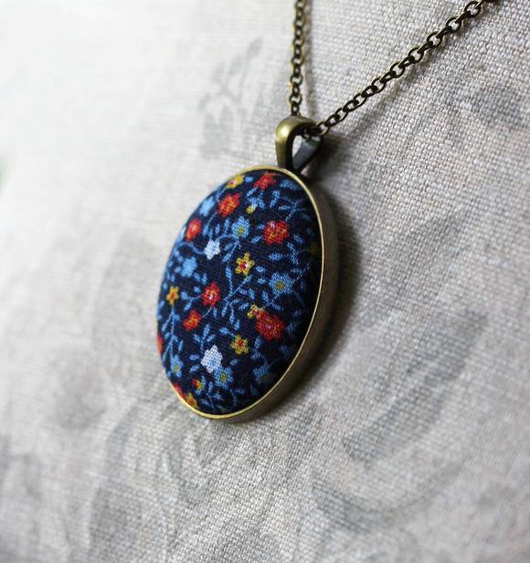 Vintage Fabric Jewelry, Navy Blue Floral