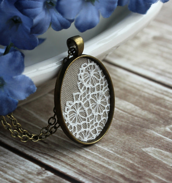 Oval Vintage Lace Pendant, Beige And White Neutral Jewelry