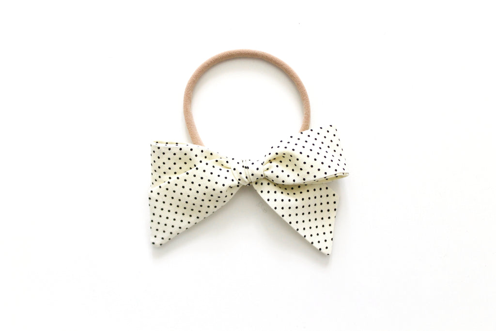 Cream and Black Swiss Dot - Mini Hand-Tied