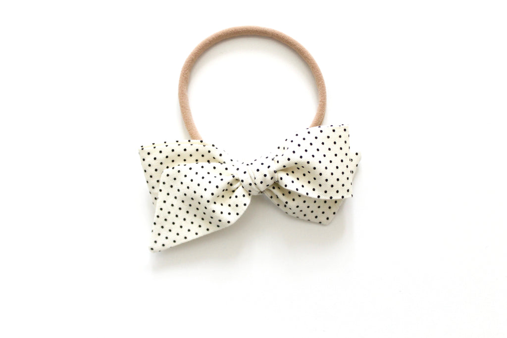 Cream and Black Swiss Dot - Mini Knot Bow