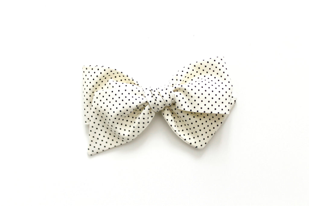 Cream and Black Swiss Dot - Oversized Knot Bow