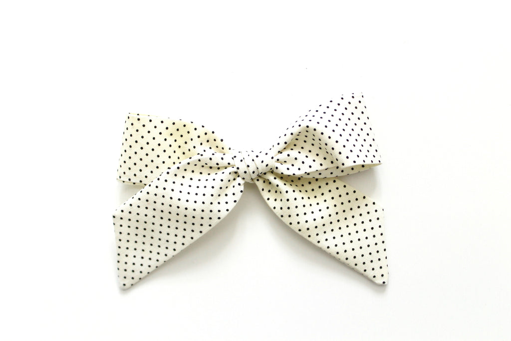Cream and Black Swiss Dot - Oversized Hand-Tied