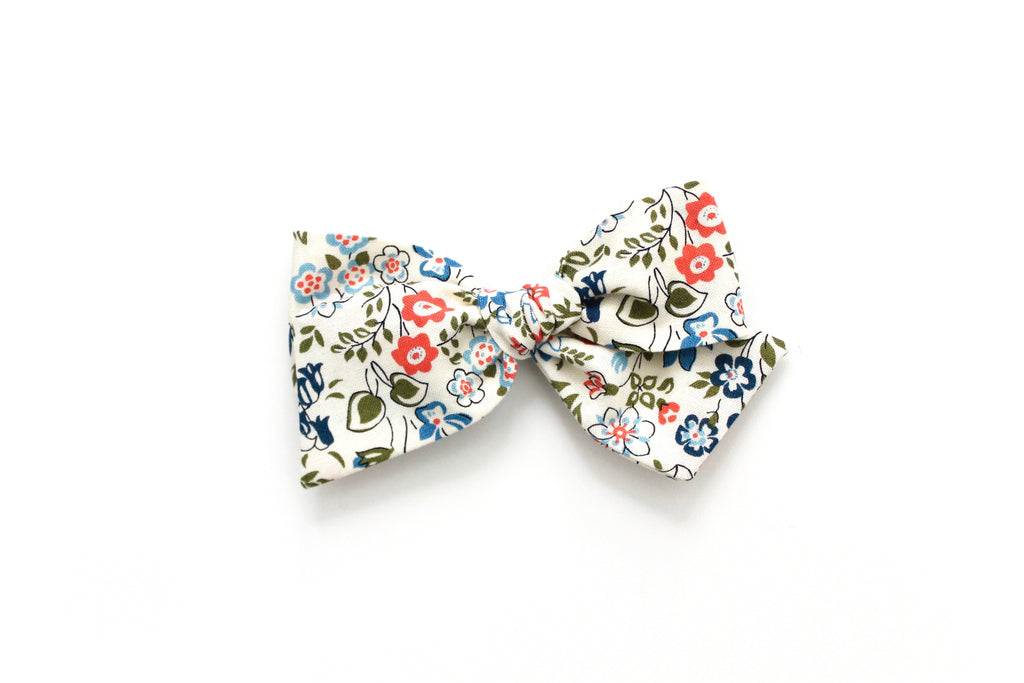Cottage Garden in Red/Blue - Oversized Knot Bow