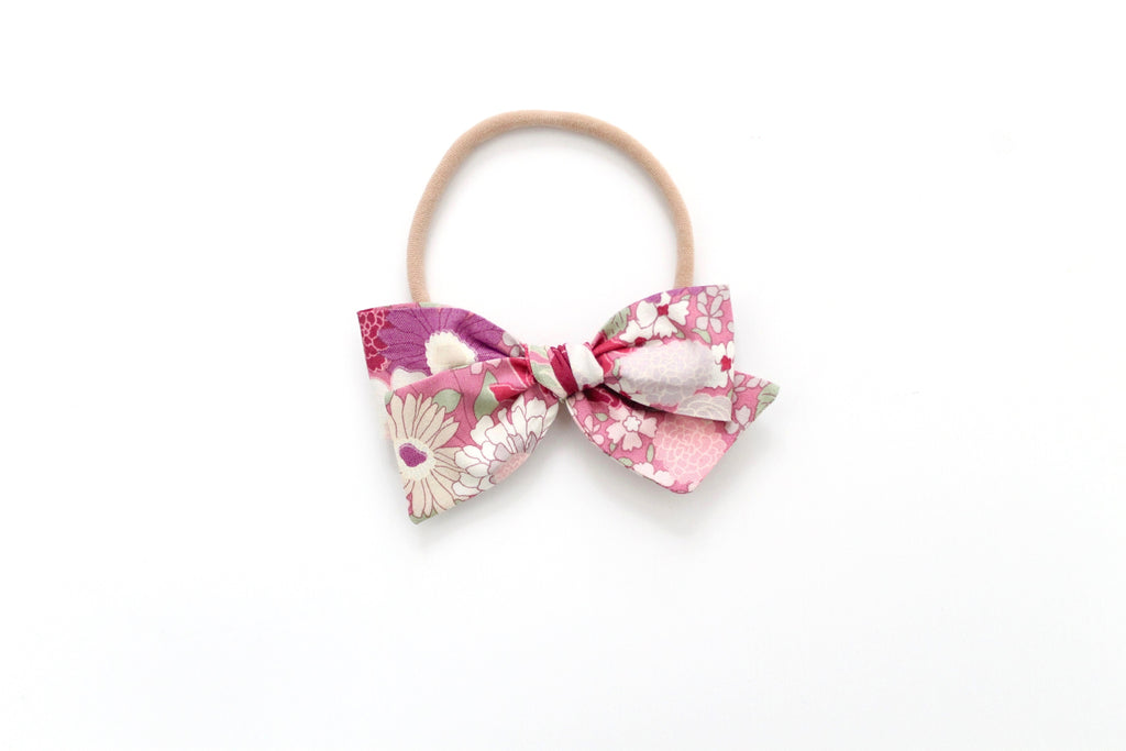 Spring Blooms in Pink/Purple - Mini Knot Bow