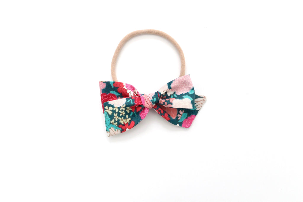 Spring Blooms in Pink/Green - Mini Knot Bow