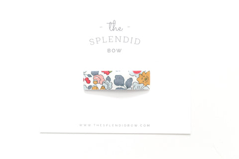Powder Blue Floral - LARGE Snap Clip